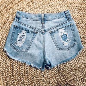 MINKPINK Shorts - Minkpink slasher flick distressed denim shorts XS